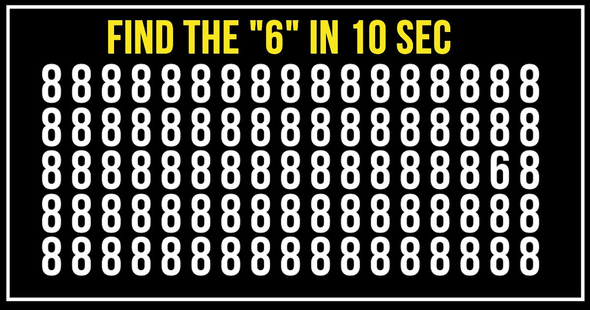 "Awesome Quiz To Check Your Focusing Abilities! Find The ""6"" In 10 Seconds!"