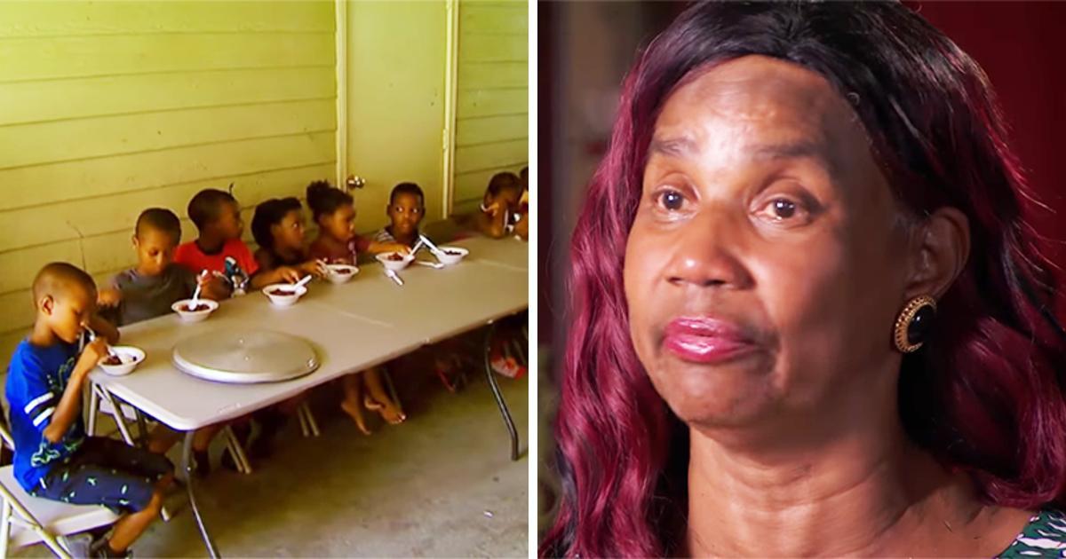Eine Großmutter gibt hungrigen Kindern aus der