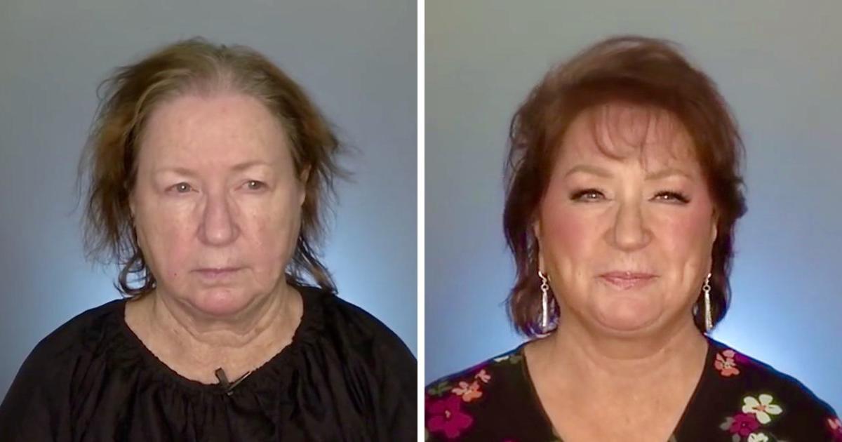 Frau mit schütterem Haar wird sich nach dem Make-up nicht