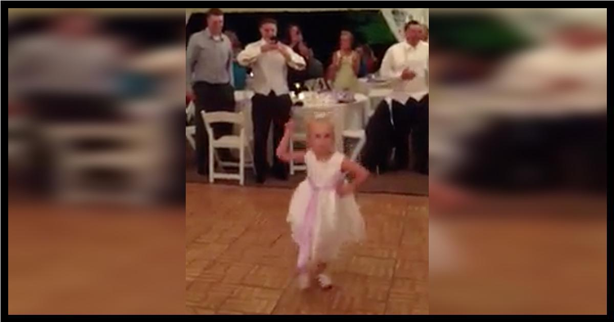 Flower Girl Dances At Wedding Reception – Crowd Is In Stitches When The Song Switches